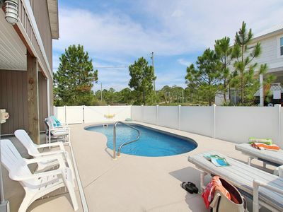 Photo for Available Now! Modern Pet-Friendly Beach Rental with Screened Deck and Private Pool, just a short wa