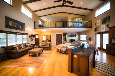 Large open living area make the family group feel involved in the activities.