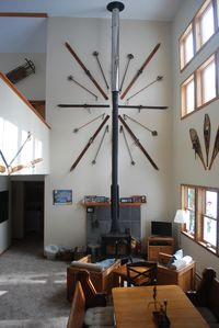 Vermont Castings wood stove, 24' vaulted ceiling