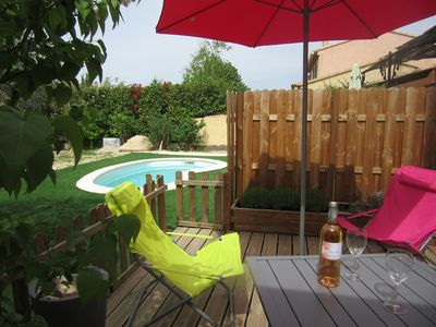 Photo for Pertuis new studio 24m² private terrace, garden and shared heated pool
