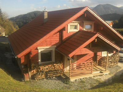 Photo for Beautiful log home in sunny Carinthia with fantastic views between Lakes