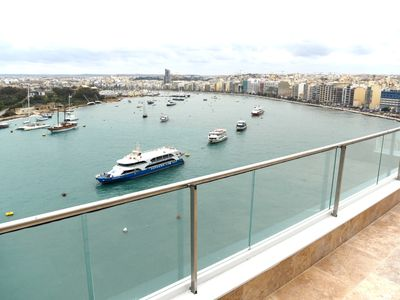 Photo for Tigne Point Sea View 8 apartment in Sliema with WiFi, private terrace & lift.