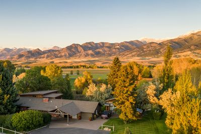 Cherry Creek Guest House with the Bridger Range of the Rocky Mountains
