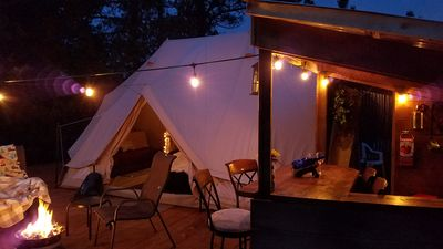 Photo for Sibley Bell Tent 2 @EvansCliff, Beautiful Canyon High-rise deck w/ Hot Tub!!