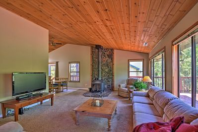 Sit back and relax in the living area, where you can watch the flat-screen TV.