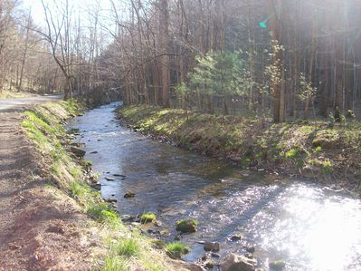 The creek that runs from the  spring from the fish hatchery to Upper Tract.