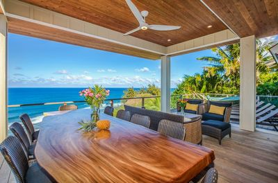 Enjoy Breakfast, Lunch and Dinner on this stunning lanai while watching for whales or dolphins!