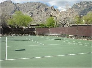 Enjoy a game of tennis this close to the mountains!