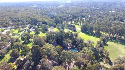 Aerial view of Quiet Escapes, set on 10 acres in Mundaring, Perth Hills.