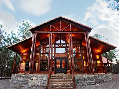 Photo for Luxurious two-story cabin built with a large family or a large group in mind.