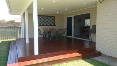 Spacious deck- inside/outside living