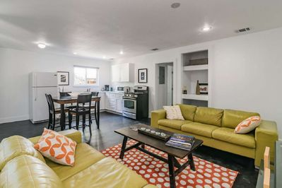The open floor plan of this getaway is perfect for staying connected with your guests!