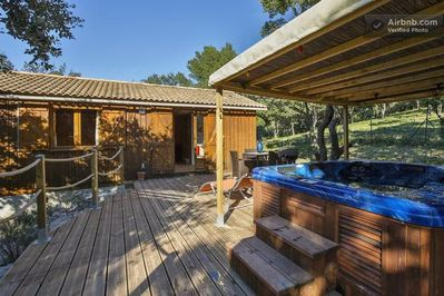 the cabin and its hot tub