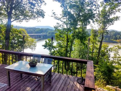 Photo for Charming Cabin at Lake Tillery with Spectacular Poolside Views and Boat Dockage