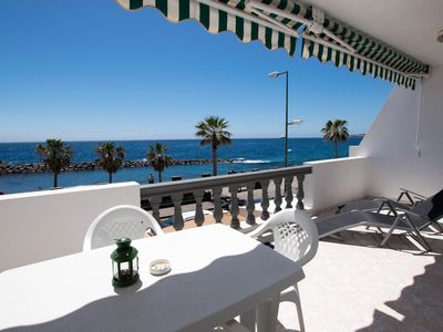 Photo for Lively Beach front apartment with Pool - Apartment for 3 people in Candelaria
