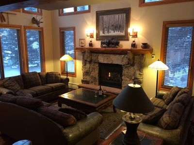 Gather around our cozy fireplace on a snowy day!