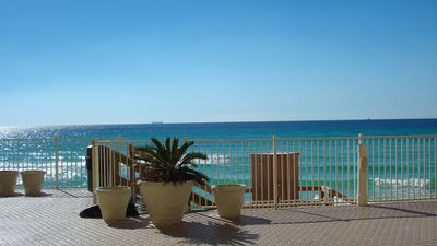 Photo for *Ground Floor 2 BR w/ Beach Service*Pet Friendly*Bar Height Balcony Seating