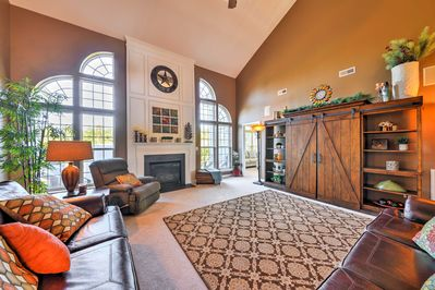 The nearly 3,800-square-foot interior has room for up to 10 guests comfortably.