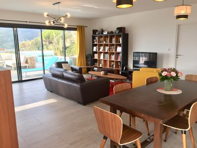 Photo for Villa of recent architect, 180 m2 with breathtaking view of the Gulf of Valinco.