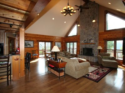 Photo for Gorgeous Custom Log Home with 2 masters bedrooms!