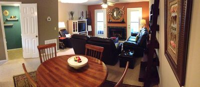 Dining between kitchen and living room. 1/2 bath to the left.