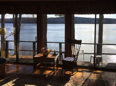 Sliding doors for full view of lake from the Living Room, Dining Room, and 3 BRs