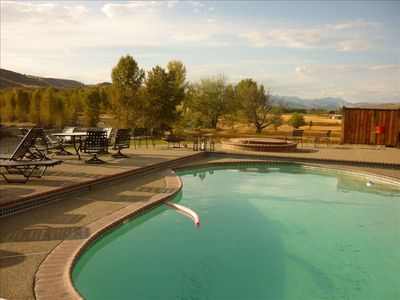 Pool overlooking the river and the cascades and our 70 acres