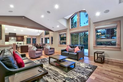 Spacious living room with vaulted ceilings