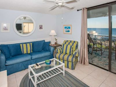 Photo for Gulf view from 7th floor with deeded beach access | Outdoor/Kiddie pools, Hot tub, Tennis, BBQ, Pier