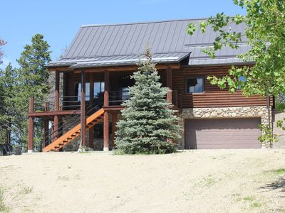 Photo for Authentic Log Cabin nestled in the pine trees with views of the Palisades