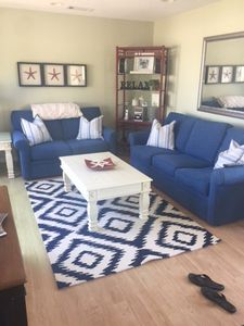 Family Room facing ocean with sleeper couch
