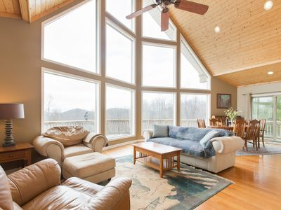 Photo for Luxury Mountain Chalet with 25Mile Views, Fishing Pond, Two Kitchens And More