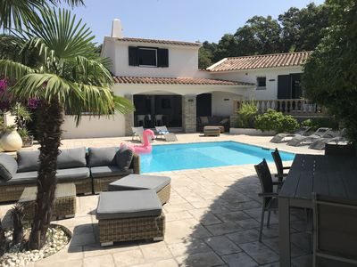 Photo for Beautiful renovated villa with infinity pool 2 min walk from the beach