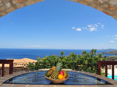 Photo for Strofilia, 3prs holiday villa with shared pool and amazing sea view