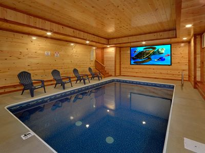Photo for Indoor Pool Cabin with Theater Room, Fire Pit, Game Room
