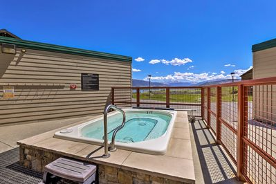 Be sure to take advantage of the shared hot tub only steps from your front door.