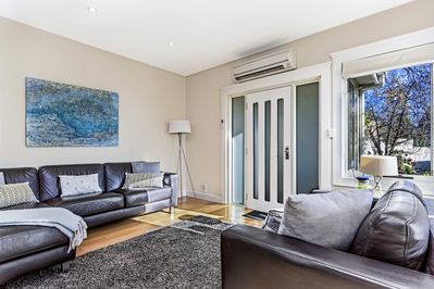 Spacious living room..Reverse cycle heat pump in the open plan living areas.