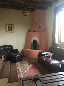 Living room with working Kiva fireplace