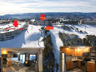 Photo for Updated 2BR/2BA ski in/out, village, mnt. views, AC, sleeps 8(6ad/2ch)