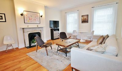 Living room with deco fireplace Sofa bed (accommodates 2 people)