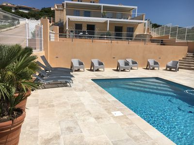 Photo for SUBLIME NEW APARTMENT WITH IMPREGNABLE VIEW ON AJACCIO BAY AND SWIMMING POOL