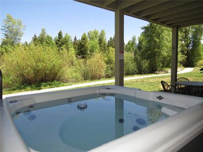 Photo for Private Hot Tub, On the Blue River and Recreation Path, Large Deck with Grill, Garage, Gas Fireplace