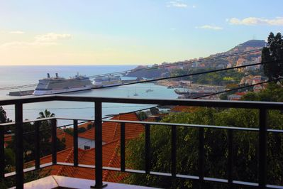 Front balcony - View of the city, see and port of Funchal