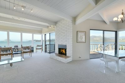 The living area is perfectly laid out to enjoy the great views