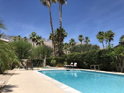 Private pool in summer facing San Jacinto Mountains.