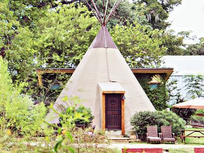 Photo for FUN Teepee @ Geronimo Creek Retreat! Heated/AC-Insulated, Kayak, Fish Hot Tub