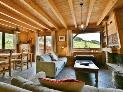 Photo for Lovely 5 bed half chalet for up to 12 with chimney  et  views opp slopes!