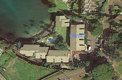 #114 in Satellite View - Google Earth closeup shows #114 in a central location facing pool and ocean