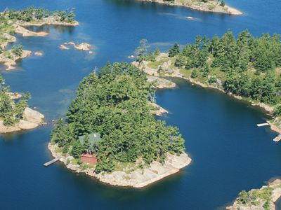 Photo for Luxury Cabin Atop A 1.3 Acre Private Island - Sun, Ski, Kayak, Sail, Read, Relax