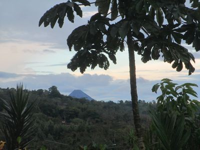 View of Arenal volcano from the front garden